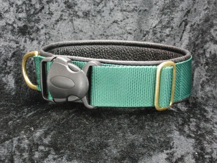 Halsband für Jasper Grün mit schwarzem Leder