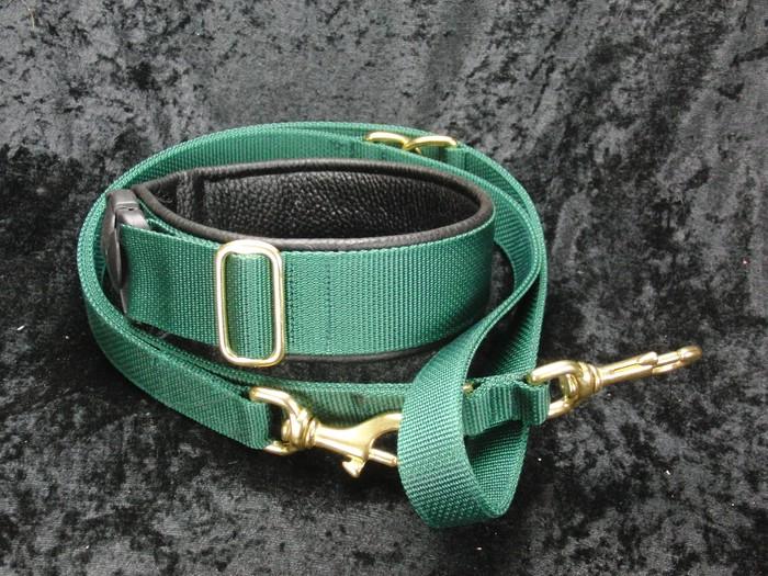 Halsband und Leine für Jasper Grün mit schwarzem Leder